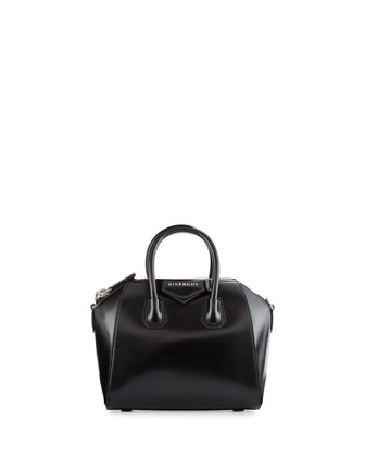 Antigona Mini Box Calf Satchel Bag, Black