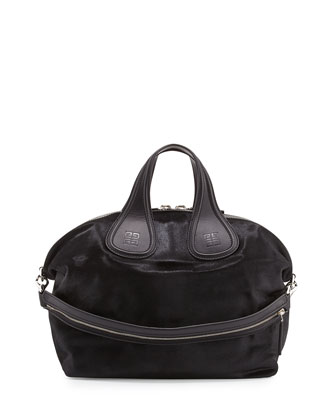 Nightingale Medium Calf Hair Satchel Bag, Black