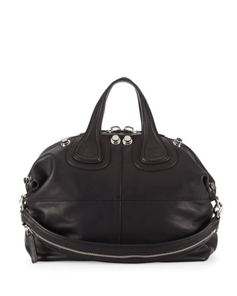 Nightingale Waxy Leather Satchel Bag, Black