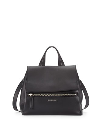 Pandora Small Waxy Leather Satchel Bag, Black