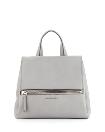 Pandora Small Waxy Leather Satchel Bag, Gray