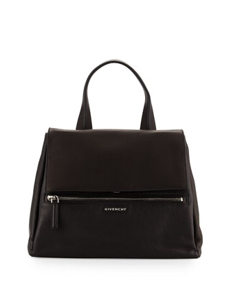 Pandora Pure Medium Leather Satchel Bag, Black