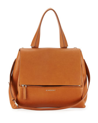 Pandora Medium Waxy Leather Satchel Bag, Camel