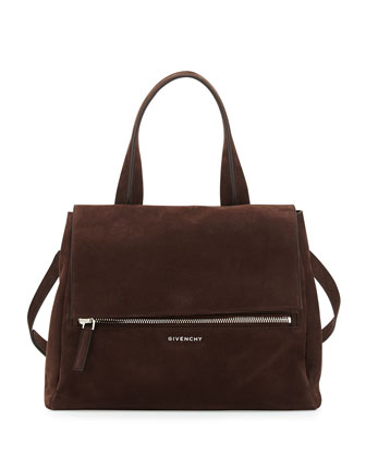 Pandora Medium Nubuck Satchel Bag, Chocolate Brown