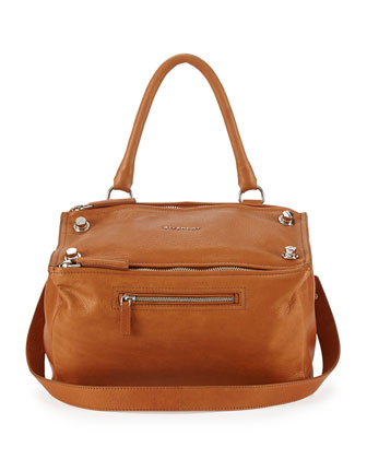 Pandora Waxy Leather Satchel Bag, Camel