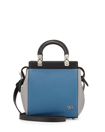 HDG Mini Top-Handle Crossbody Bag, Blue/Black/Gray