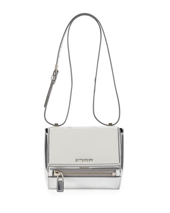 Pandora Mini Mirrored Leather Box Bag, Silver