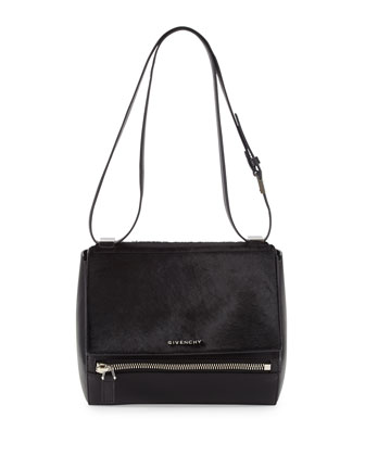 Pandora Calf Hair Medium Shoulder Bag, Black