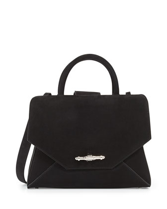 Obsedia Small Nubuck Satchel Bag, Black