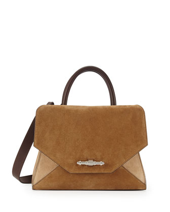 Obsedia Suede Satchel Bag, Beige Multi