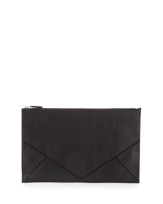 Easy Large Leather Clutch Bag, Black