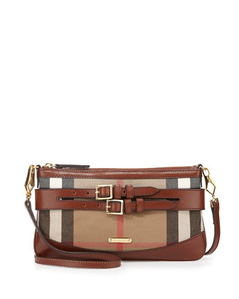 Leather & Check Crossbody Bag, Dark Tan