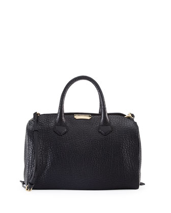 Pebbled Leather Satchel Bag, Black