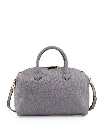 Pebbled Leather Satchel Bag, Gray Melange