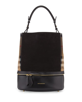 Leather & Check Canvas Bucket Bag, Black