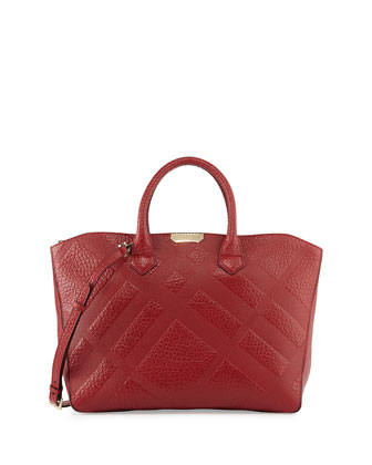 Check-Embossed Leather Tote Bag, Military Red