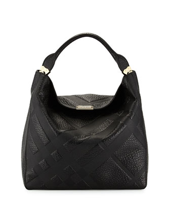 Check-Embossed Leather Hobo Bag, Black