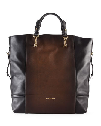 Burnished Leather Tote Bag, Mid Camel