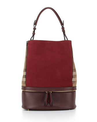 Leather & Check Canvas Bucket Bag, Deep Claret