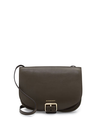 Buckled Leather Saddle Bag, Military Olive