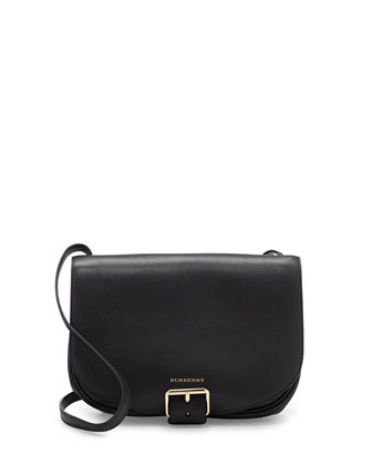 Buckled Leather Saddle Bag, Black