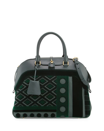 Geometric Leather/Velvet Satchel Bag, Dark Bottle Green
