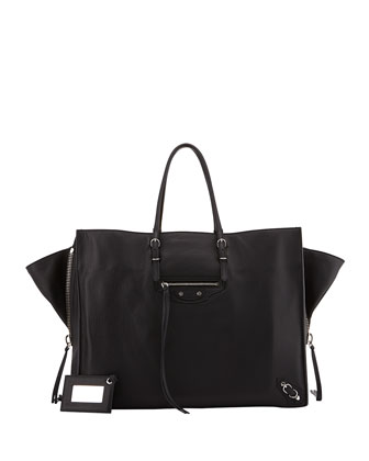 Papier A4 Side Zip Leather Tote Bag, Black