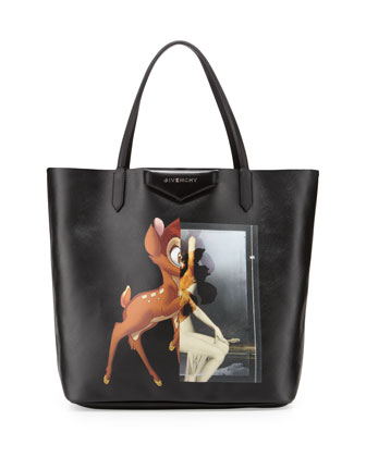 Antigona Fawn-Print Medium Shopper Bag, Black