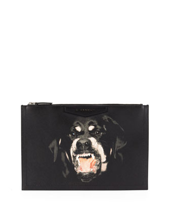 Antigona Rottweiler-Print Coated Canvas Zip Pouch