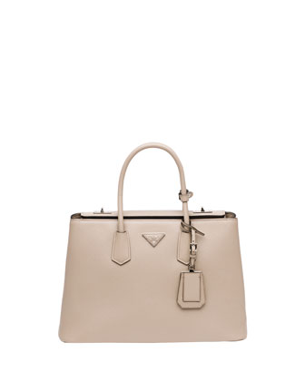 Saffiano Cuir Twin Bag, Light Gray (Pomice)