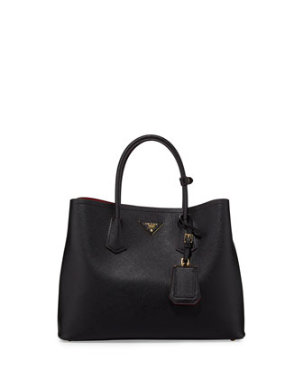Saffiano Cuir Double Bag, Black