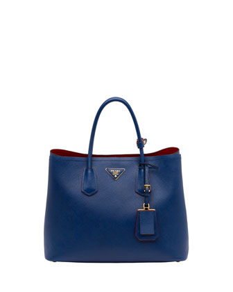 Saffiano Cuir Double Bag, Blue (Bluette)