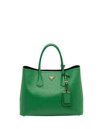Saffiano Cuir Double Bag, Green
