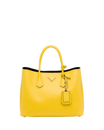 Saffiano Cuir Double Bag, Yellow