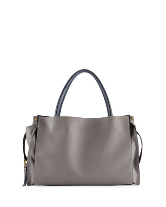 Dree East-West Leather Satchel Bag, Dark Gray