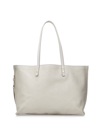 Dilan Large Leather Tote Bag, Gray