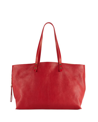 Dilan East-West Leather Tote Bag, Red