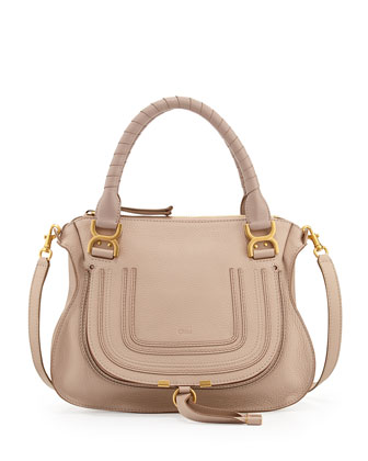 Marcie Medium Satchel Bag, Beige