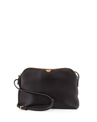Multi-Pouch Leather Crossbody Bag, Black/Dark Brown