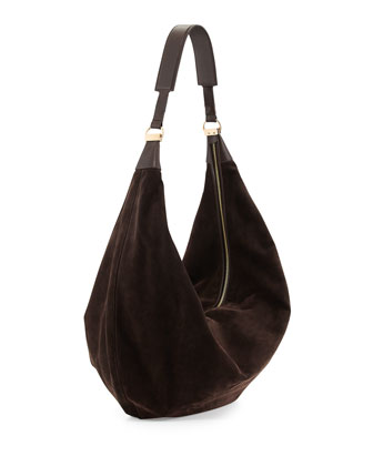 Sling 15 Suede Hobo Bag, Dark Brown
