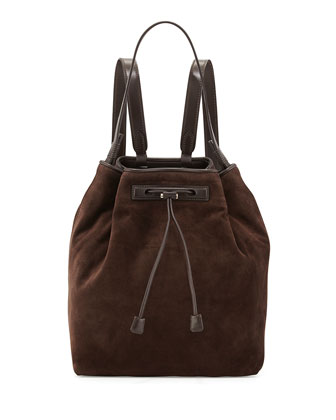 Mini Suede Backpack, Dark Brown