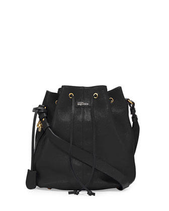 Padlock Leather Bucket Bag, Black