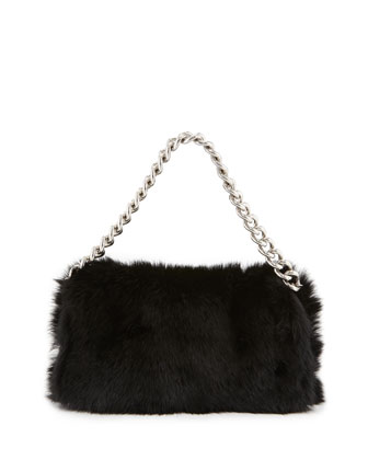 Folded Fur Clutch Bag, Black