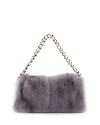 Folded Fur Clutch Bag, Gray