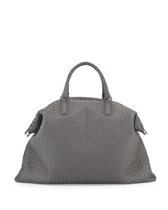 Maxi Convertible Woven Tote Bag, Gray