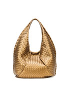 Cervo Large Metallic Hobo Bag, Bronze