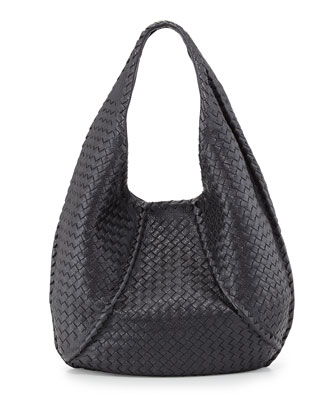 Cervo Braided Deer Skin Large Hobo, Gunmetal