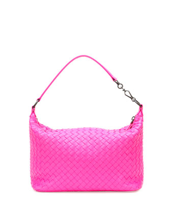 Small East-West Zip Hobo Bag, Hot Pink