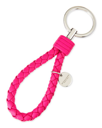 Braided Loop Key Ring, Hot Pink