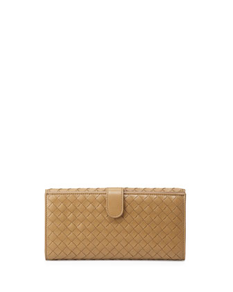 Woven Continental Flap-Tab Wallet, Sand